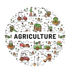 Agriculture and farming line art icons farm vector image vector image