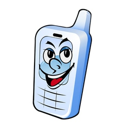 cartoon smiling phone vector image vector image