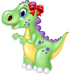 Cute female dinosaur isolated on white background vector image vector image