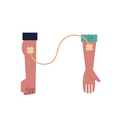 flat hand blood donation to hand vector image