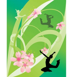 green abstract with dancing girls vector image vector image