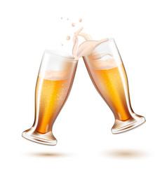 realistic beer glasses toasting splashing vector image vector image