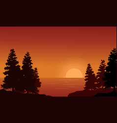 silhouette of spruce on lake landscape vector image
