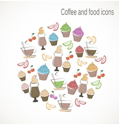 Coffee and sweet food icons vector image vector image
