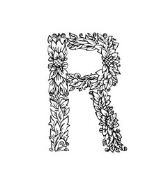 letters floral r vector image