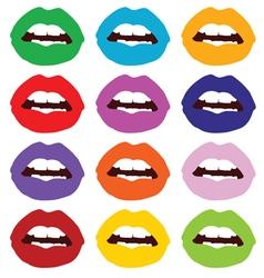lips set color vector image