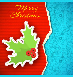 merry christmas paper background vector image vector image