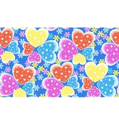 Seamless candy color hearts pattern Valentines vector image