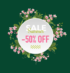 summer sale tropical flowers banner vector image vector image