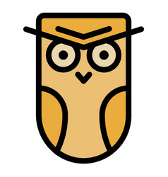 Angry owl icon color outline vector