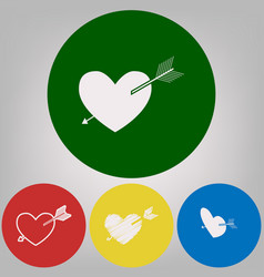 arrow heart sign 4 white styles of icon vector image