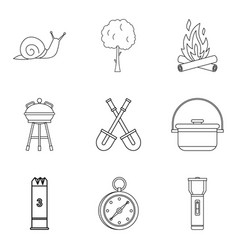 Backyard icons set outline style vector