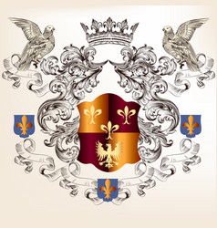 Beautiful heraldic design with shield in vintage vector