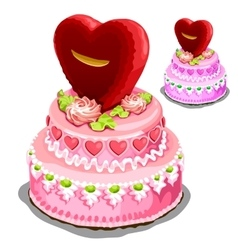 Beautiful pink cake with heart biscuits vector image