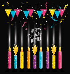 birthday candles with garlands hanging vector image