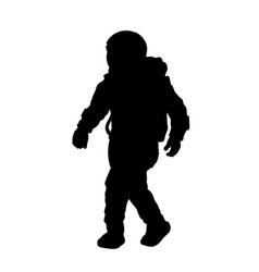 Black silhouette astronaut isolated spaceman vector