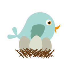 blue color silhouette of bird in nest with eggs vector image