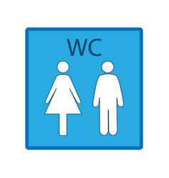 blue silhouette men and women icon in white square vector image