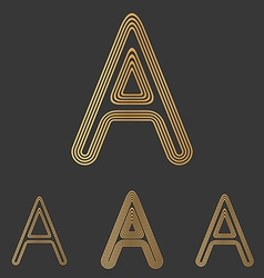 Bronze letter a logo design set vector