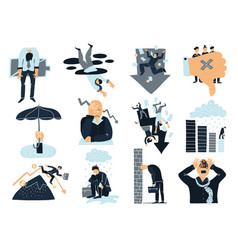 Business failure flat icons set vector