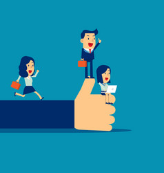 Business team proud and happy with thumb up hand vector