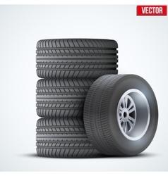 Car tires and wheel at warehouse vector
