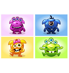 cartoon collection four cute babies vector image