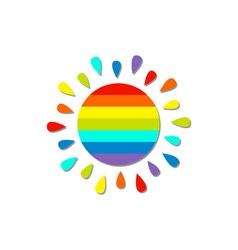 Cartoon rainbow color sun Isolated White vector