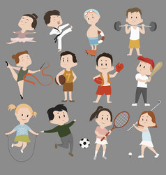 Cartoon set children in sports training vector