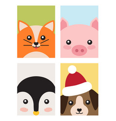 Cat and pig penguin and dog vector
