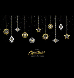 Christmas and new year gold outline bauble card vector