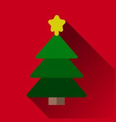christmas tree with decorations star flat icon for vector image