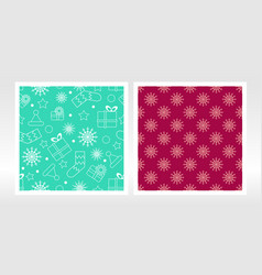 christmas wrapping paper set seamless pattern vector image