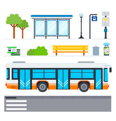 city bus flat icons set with public transport vector image
