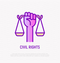Civil rights thin line icon hand holding scales vector