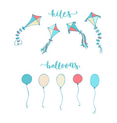 Colorful kites and balloons vector