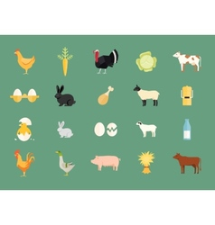 Colorful set of farm animals and produce vector