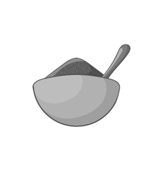 Cup with spoon and food icon monochrome style vector image