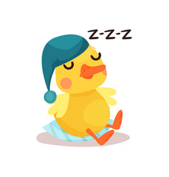 cute little yellow duck chick character in a blue vector image