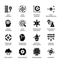 Data science glyph icons vector