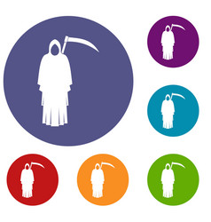 Death with scythe icons set vector