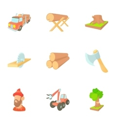 Deforestation icons set cartoon style vector