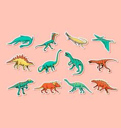 Dinosaurs set tyrannosaurus rex triceratops vector