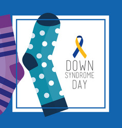 Down syndrome day greeting card dotted and striped vector