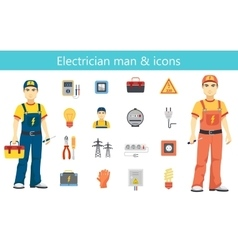 Electrician man concept and color flat icons set vector