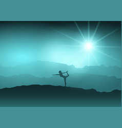 Female in yoga position in landscape vector