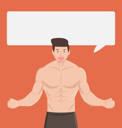 Fitness muscular healthy man tell and explain vector