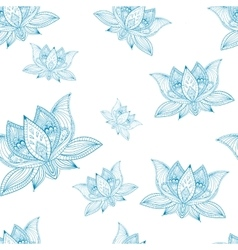 Floral vintage seamless pattern with lotus flowers vector