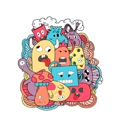 Funny cartoon monsters card vector image