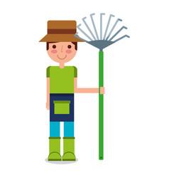 gardener boy with rake character vector image